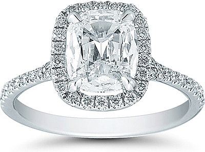 Henri Daussi 1 58ct Cushion Cut Diamond Ring With Halo And Pave