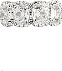 Henri Daussi 4 Stone Cushion Cut Diamond Band- 2.64ctw