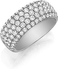 Henri Daussi 5-Row Pave Diamond Band
