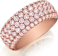 Henri Daussi 5-Row Pink Pave Diamond Band