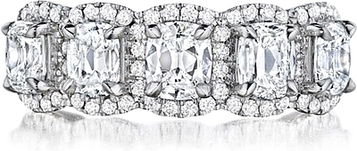 Henri Daussi 5 Stone Cushion Cut Diamond Band 2 44ctw