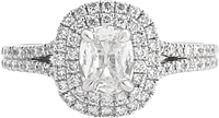 Henri Daussi .71ct G/SI2 Cushion Cut Diamond Engagement Ring