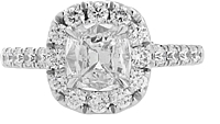 Henri Daussi .93ct GIA H/SI2 Cushion Cut Diamond Engagement Ring