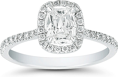 Henri Daussi Cushion Cut Diamond Ring With Halo And Pave Diamond