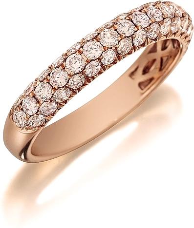 e69f0fec8633a Henri Daussi Domed 3-Row Pink Diamond Pave Band