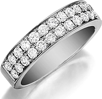 Henri Daussi Double Row Pave Diamond Band