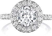 Henri Daussi Pave Halo Diamond Engagement Ring