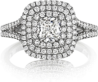 Henri Daussi Split Shank Double Halo Diamond Engagement Ring