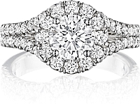Henri Daussi Split Shank Halo Diamond Engagement Ring