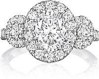 Henri Daussi Three Stone Diamond Engagement Ring