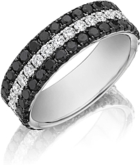Henri Daussi Triple Row Diamond Wedding Band- 7mm