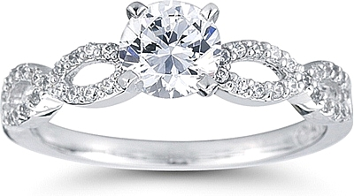 Intertwined Pave Diamond Engagement Ring Us3044