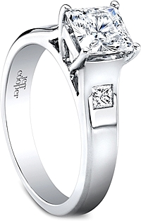 Jeff Cooper Burnish Princess Cut Diamond Engagement Ring