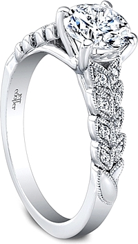 Jeff Cooper Leaf Motif Diamond Engagement Ring