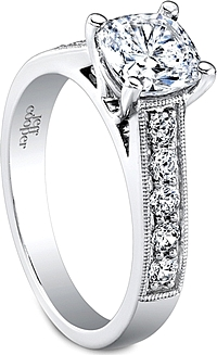 Jeff Cooper Pave & Milgrain Diamond Engagement Ring