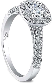Jeff Cooper 'Talitha' Micropave Halo Diamond Engagement Ring