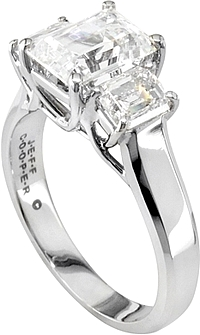 Jeff Cooper Three Stone Emerald Cut Trellis Engagement Ring