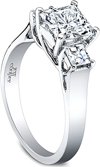 Jeff Cooper Three Stone Princess Cut Lattice Engagement Ring