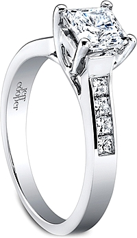Jeff Cooper Trellis Engagement Ring with Channel-Set Princess Cut Diamonds