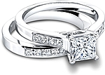 This image shows the setting with a 1.00ct princess cut center diamond. The setting can be ordered to accommodate any shape/size diamond listed in the setting details section below. Shown with the matching wedding; Sold separately.
