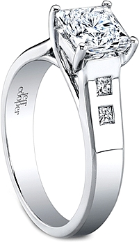 Jeff Cooper Trellis Engagement Ring w/ Princess Cut Side Stones