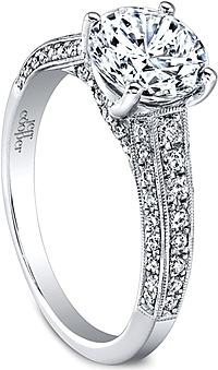 Jeff Cooper Triple Row Milgrain Diamond Engagement Ring