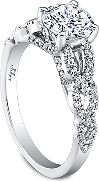 Jeff Cooper Twist Shank Diamond Engagement Ring