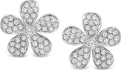 Kc Designs 14k White Gold Diamond Flower Earrings Kc E3628