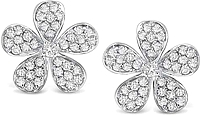 KC Designs 14k White Gold Diamond Flower Earrings