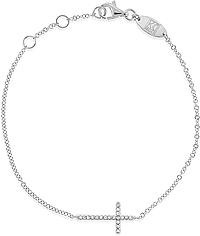 KC Designs 14k White Gold Sideways Cross Bracelet