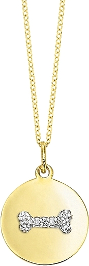 KC Designs 14k Yellow Gold Diamond Disc Necklace w/ Dog Bone