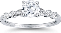 Marquise Design Pave Diamond Engagement Ring