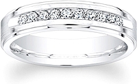 Men's Satin Finish Diamond Wedding Band-5mm