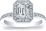 This image shows the setting with a 1.25ct emerald cut center diamond. The setting can be ordered to accommodate any shape/size diamond listed in the setting details section below.