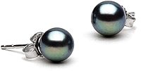 Pair of 6.5-7.0mm Black Freshwater Pearl Stud Earrings