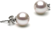 Pair of 7.0-8.0mm White Freshwater Pearl Stud Earrings