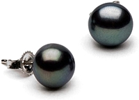 Pair of 8.0-9.0mm Black Freshwater Pearl Stud Earrings