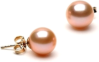 Pair of 8.0-9.0mm Pink Freshwater Pearl Earrings