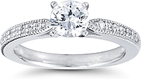 Pave Cathedral Diamond Engagement Ring w/ Milgrain