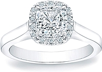 Pave Cushion Halo Engagement Ring