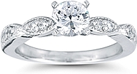 Pave Diamond Engagement Ring w/ Milgrain