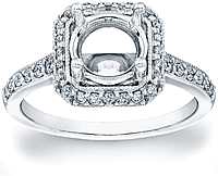 Pave Diamond Halo Engagement Ring w/ Milgrain Edges
