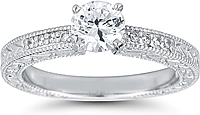 Pave Engraved Diamond Engagement Ring