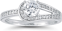 Pave Loop Diamond Engagement Ring
