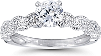 Pave Marquise Design Diamond Engagement Ring