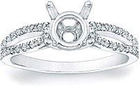 Pave Split-Shank Diamond Engagement Ring