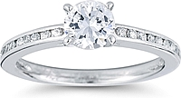 Petite Channel-Set Round Brilliant Cathedral Diamond Engagement Ring