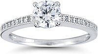 Petite Pave Diamond Engagement Ring w/ Milgrain