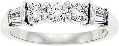 Platinum 3/4 ct. Round & Baguette Diamond Wedding Band D60782