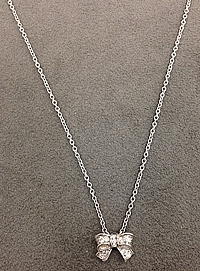 Platinum Diamond Bow Necklace